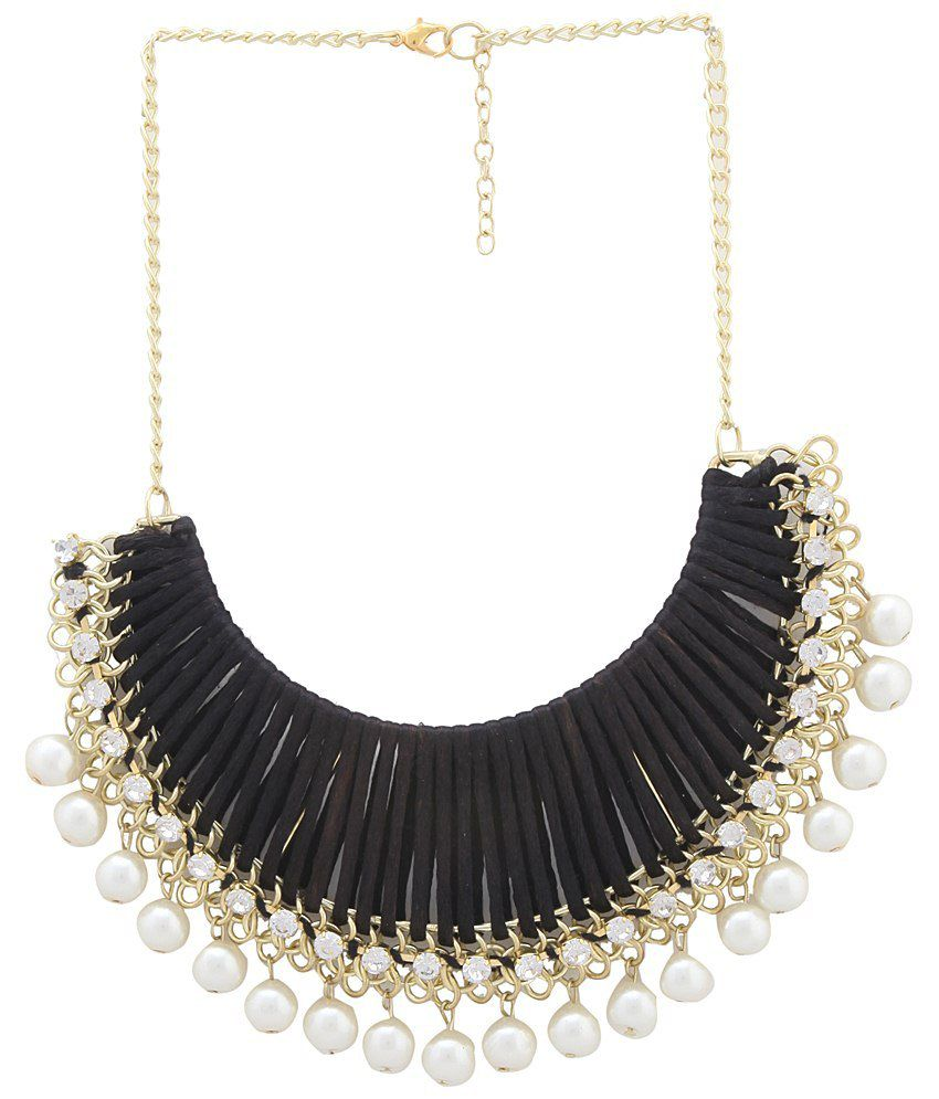 3929cd1aac ... Thread with White Pearl Necklace - Buy Shilpi Handicrafts Designer Black  Thread with White Pearl Necklace Online at Best Prices in India on Snapdeal