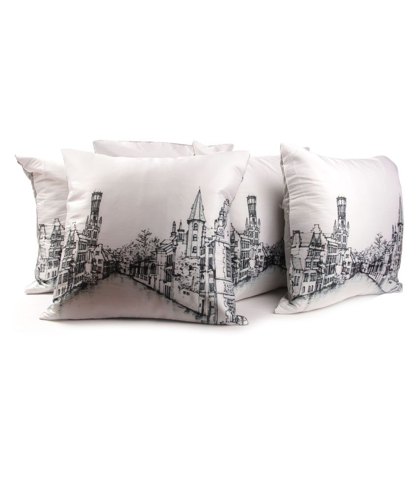 Home Candy White And Black Contemporary Polyester Cushion Cover (set Of 5)