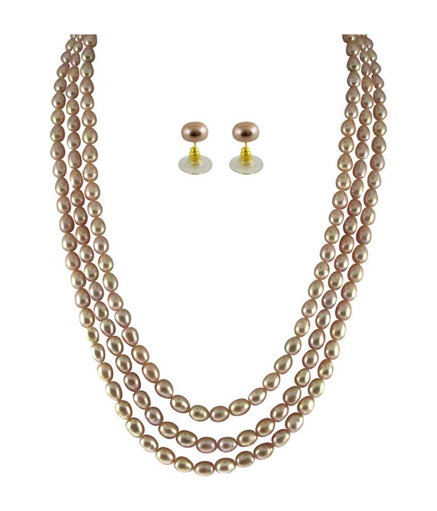 String Pearl Necklace: Sri Jagdamba Pearls 3 String Pearl Necklace Set