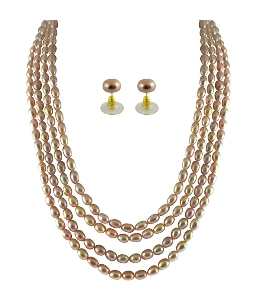 String Pearl Necklace: Sri Jagdamba Pearls 4 String Pearl Necklace Set