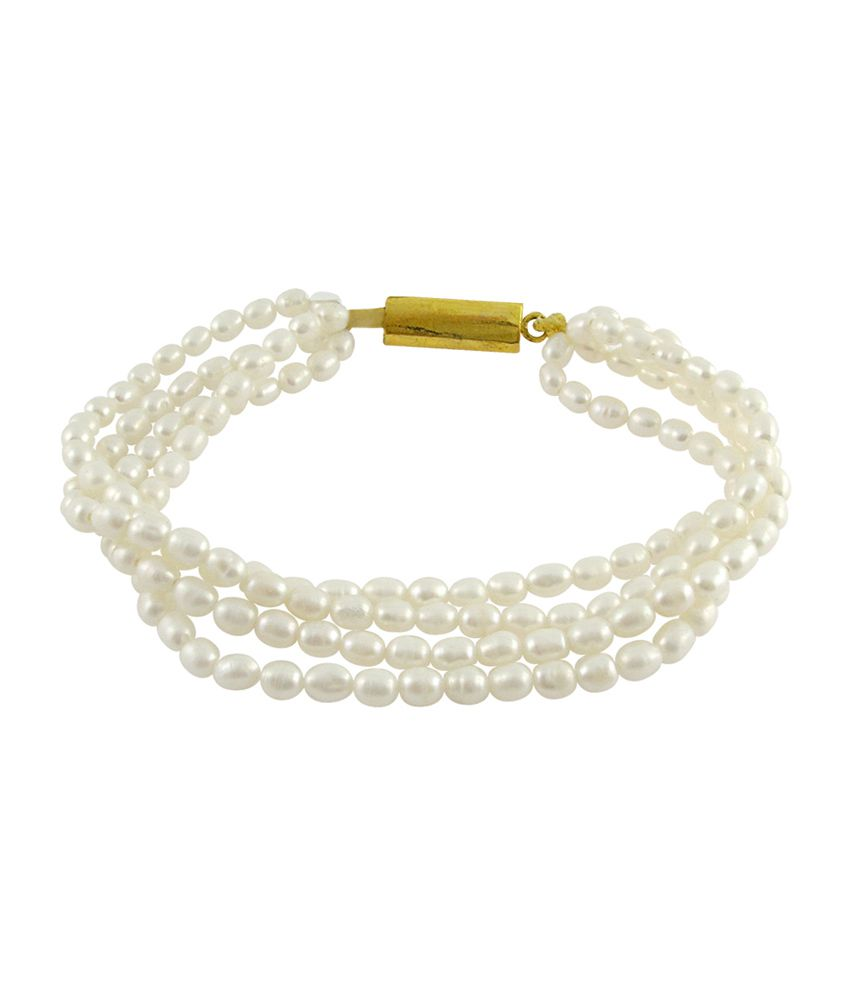 Sri Jagdamba Pearls Four Strings White Pearl Bracelet