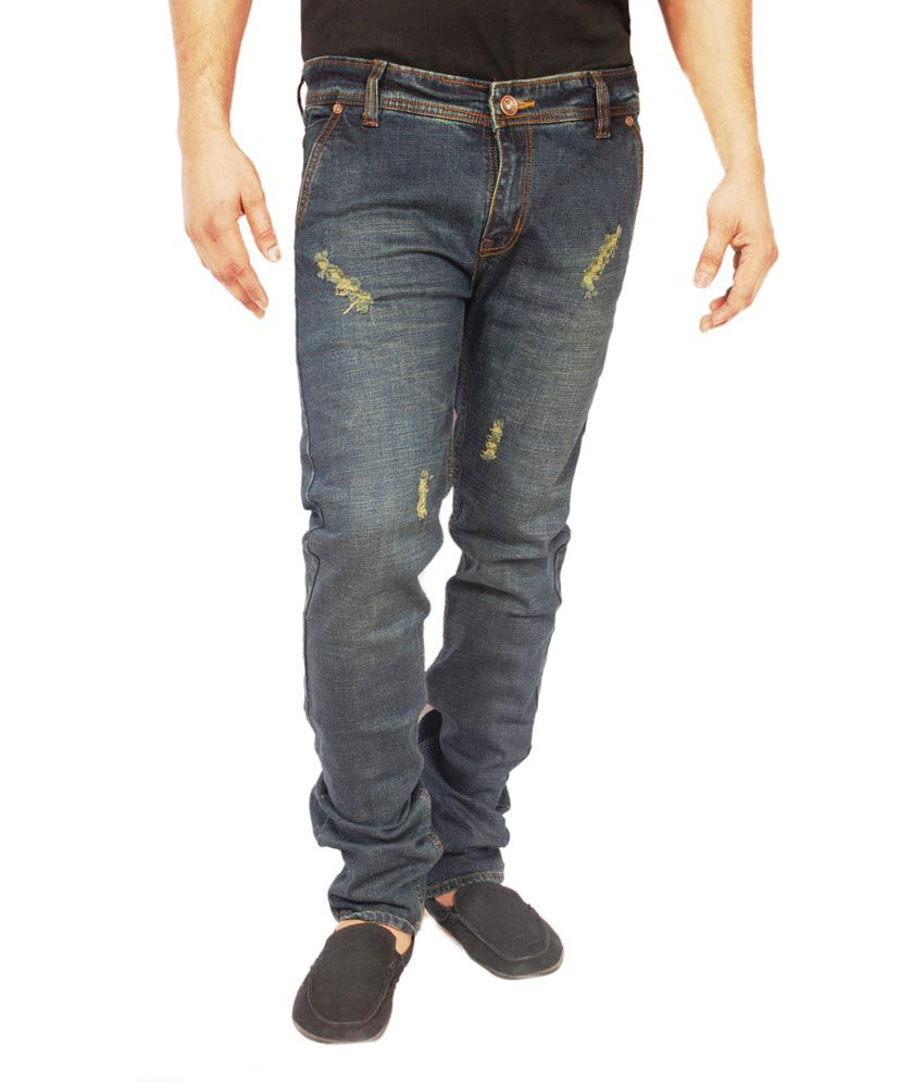 Sdt Clothing Blue Cotton Blend Straight Fit Regular Jeans