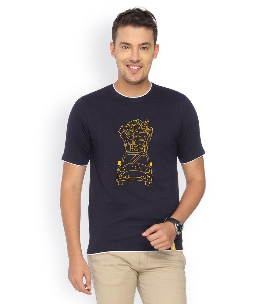 Campus Sutra Navy Cotton T-shirt