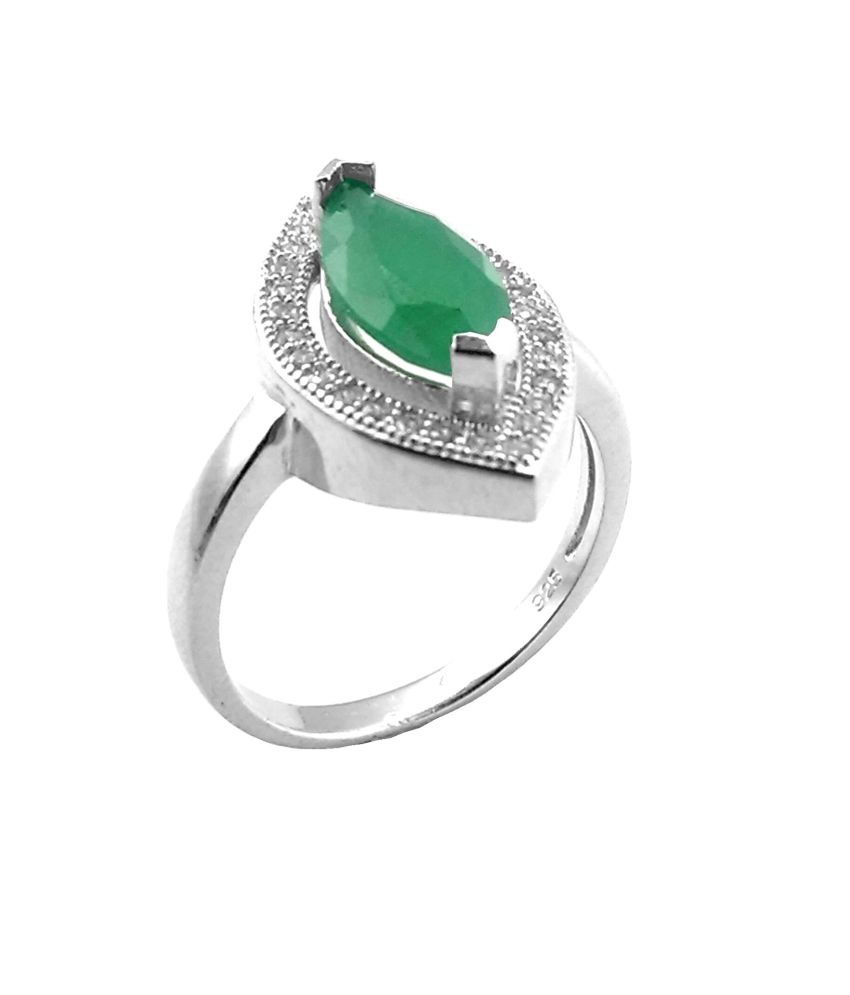 Jewel Craft Attractive Green Onyx 92.5 Silver Ring