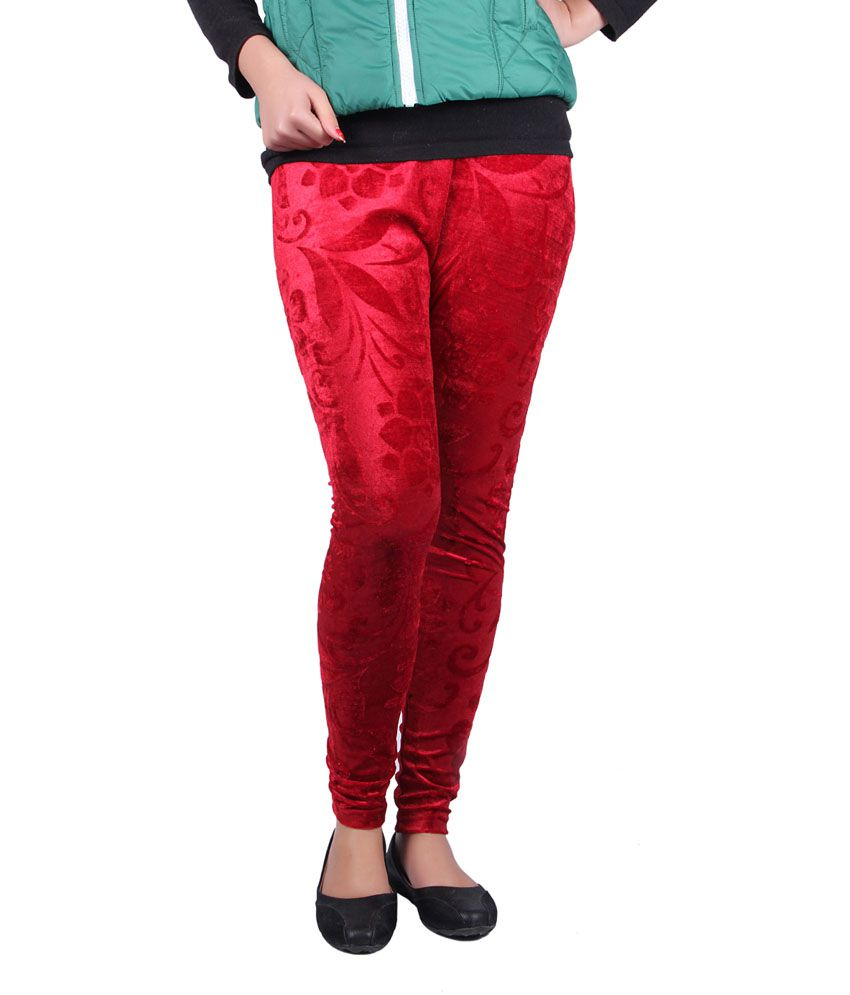 Kally Maroon Poly Cotton Jeggings