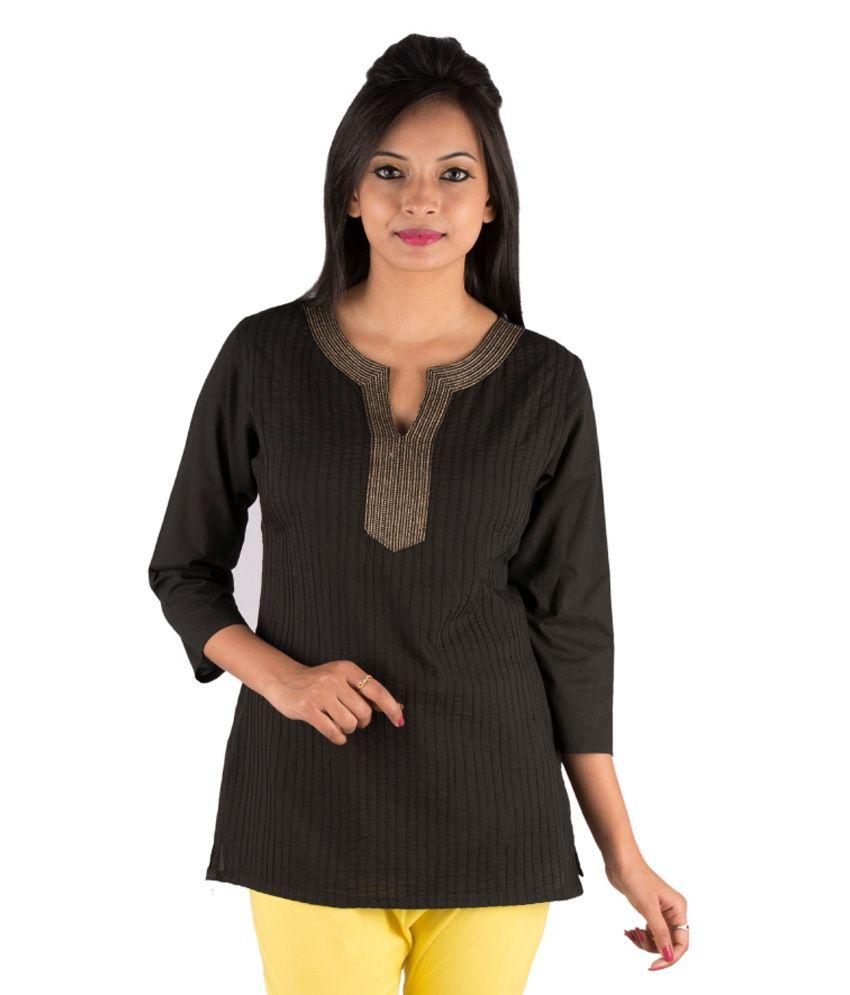 Parinita Black Cotton Solid 3/4th Sleeves Kurti