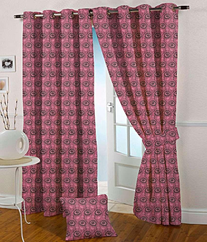 Presto Set of 2 Door Eyelet Curtains Floral Pink