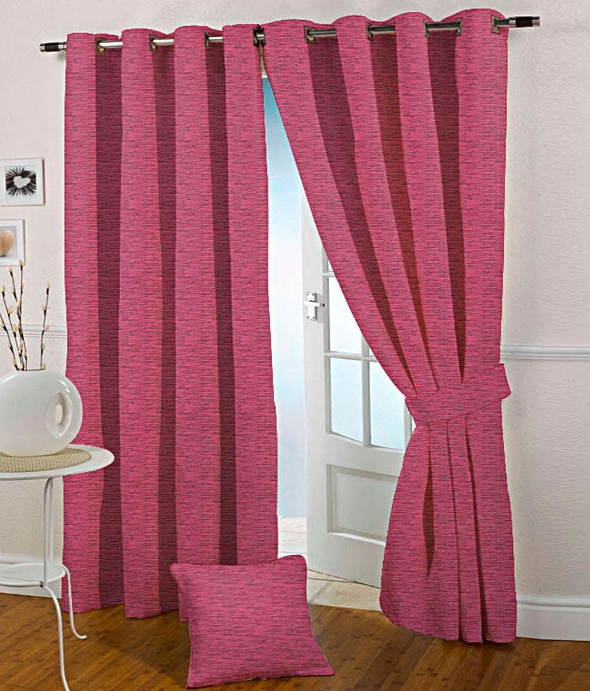 Presto Set of 2 Long Door Eyelet Curtains Solid Pink