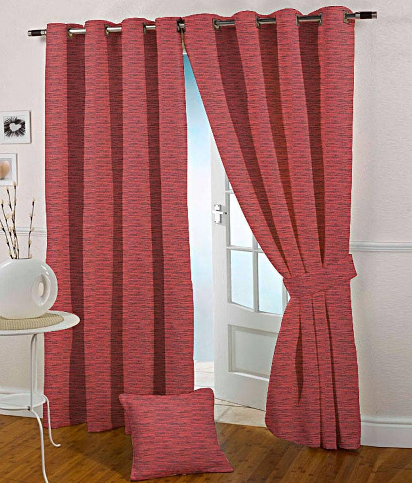 Presto Set of 2 Door Eyelet Curtains Solid Red
