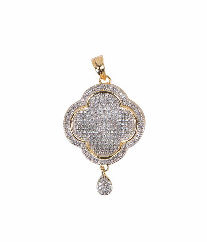 Taj pearl white elegant designer american diamond pendant set with taj pearl white elegant designer american diamond pendant set with gold and silver plated chain mozeypictures Choice Image