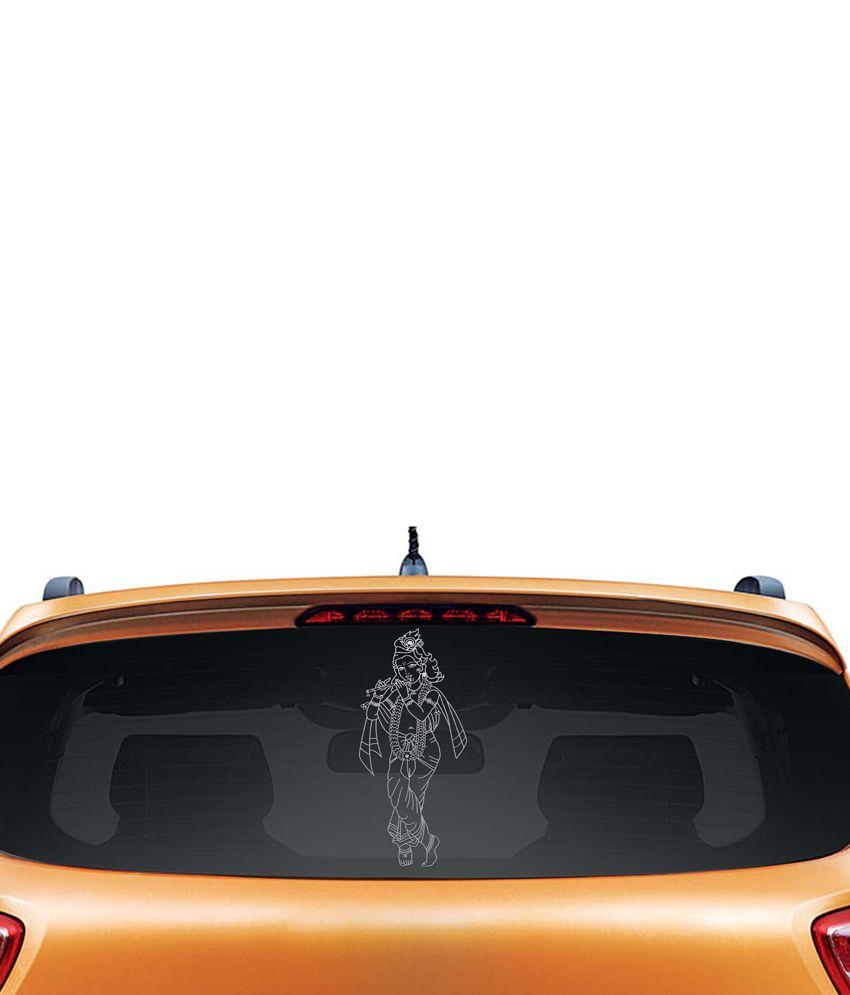 Walldesign Artistic Krishna Car Sticker - Silver