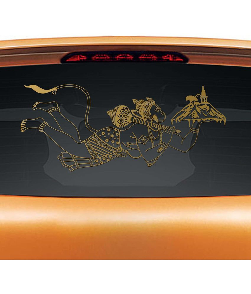 Car sticker design in india -  Walldesign Jai Hanuman Car Sticker Gold