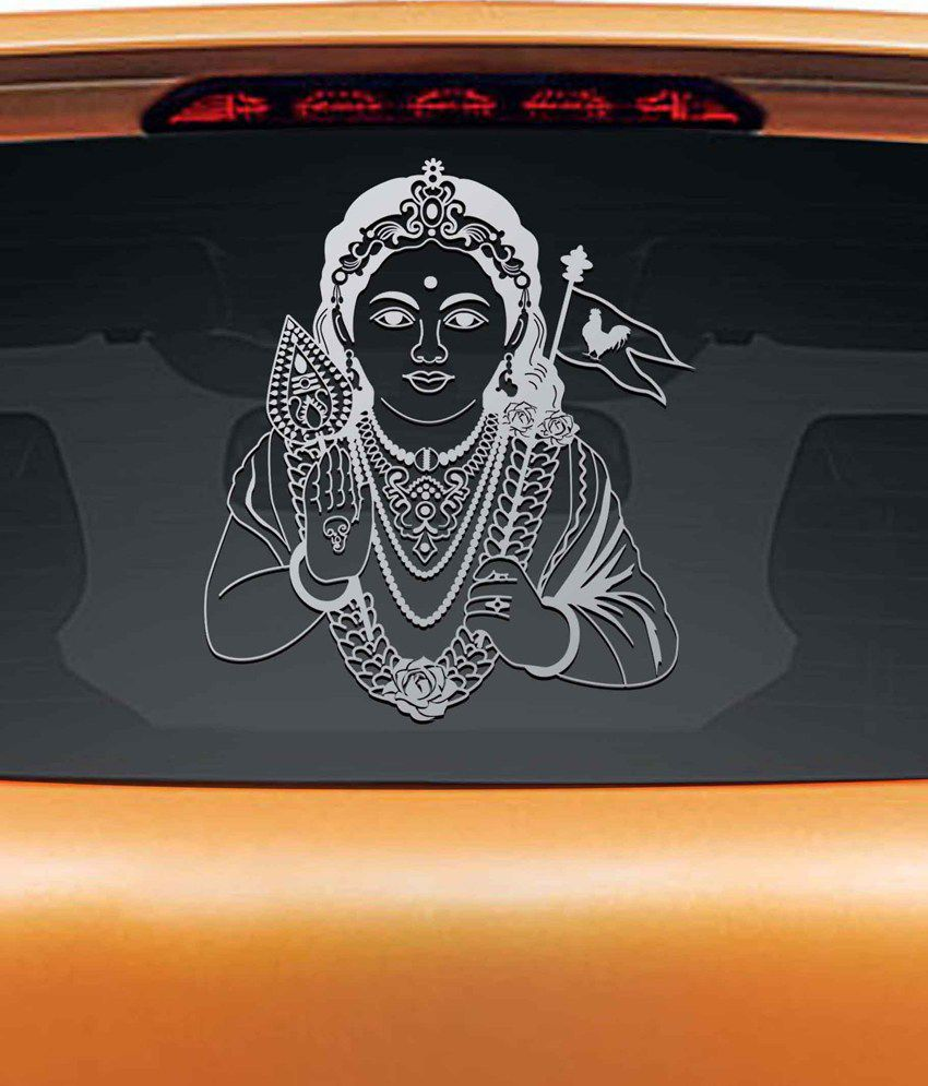 Car sticker design in india - Walldesign Murugan Car Sticker Silver Walldesign Murugan Car Sticker Silver