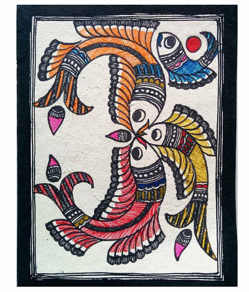 Karukraft Madhubani Greeting Card Set 4 Pieces Handmade Paper