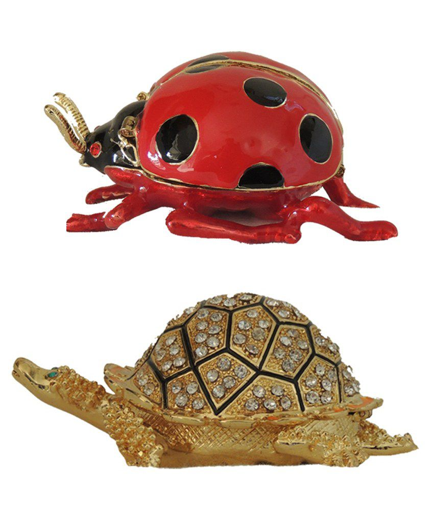 Very Combo Pack Of Brass & Copper Antique Tortoise & Brass & Copper Antique Ladybug Jewellery Box