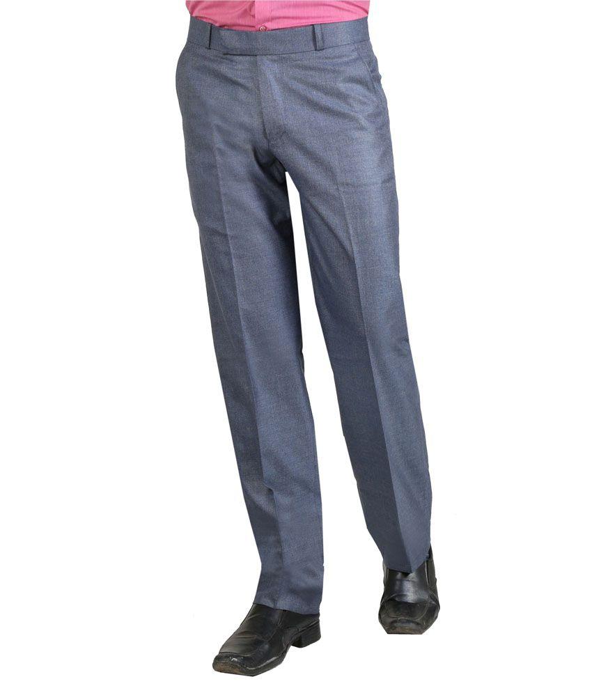 Vituda Blue Flat Cotton Blend Formals Regular Men Trouser