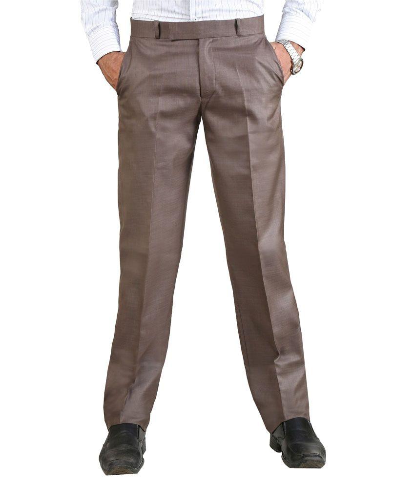 Vituda Brown Flat Cotton Blend Formals Regular Men Trouser