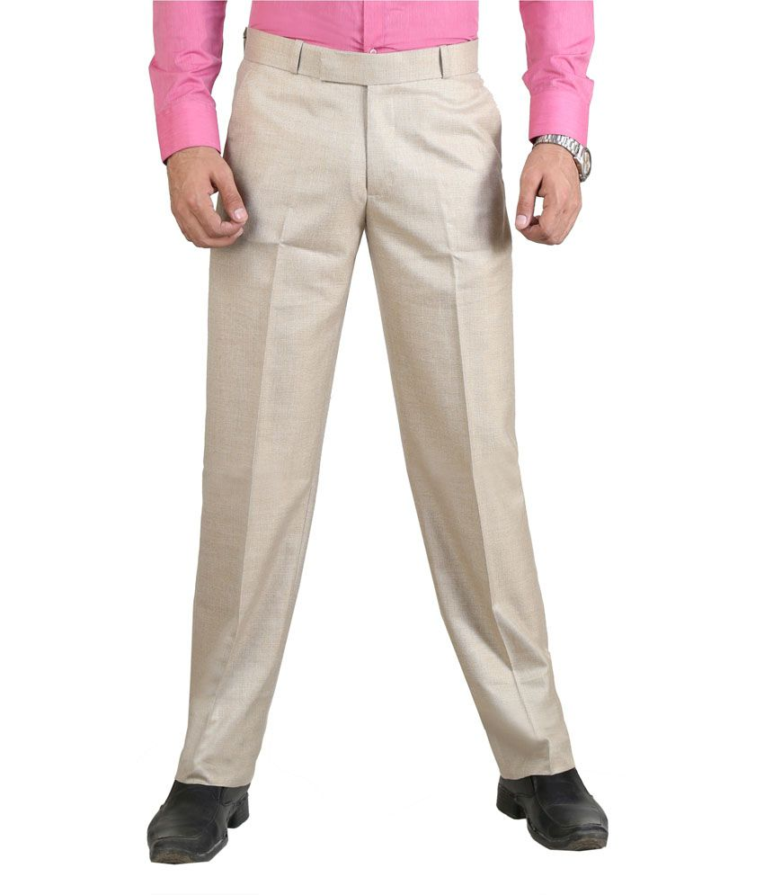 Vituda Gold Flat Cotton Blend Formals Regular Men Trouser