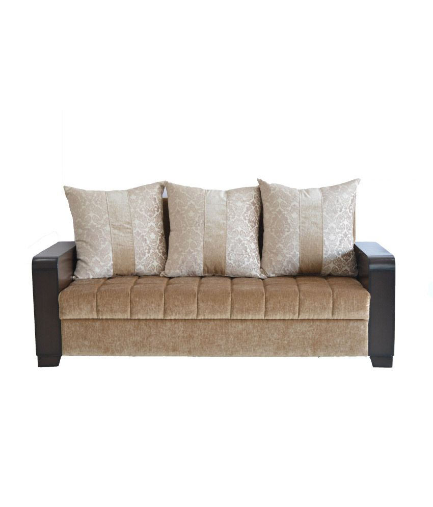 Westido Brown 3 1 1 Wooden Handle Sofa With 5 Cushions Buy Westido