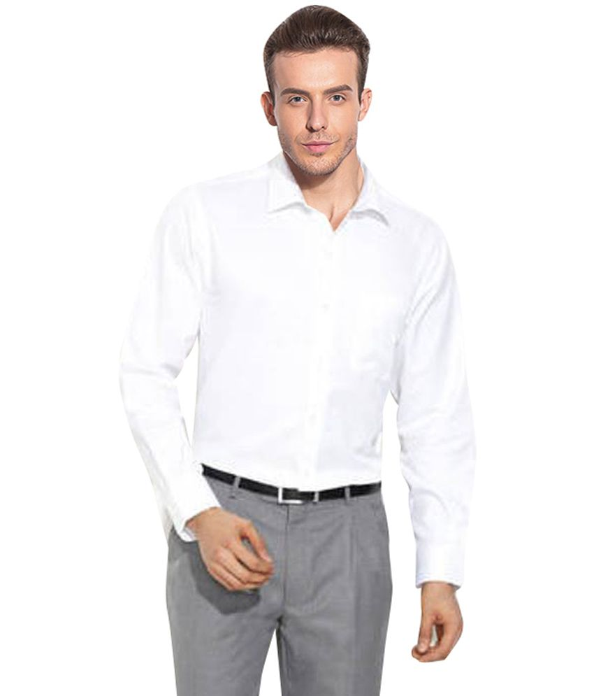Wintoss Collections White color Cotton Blend Solids Men's Formal ...