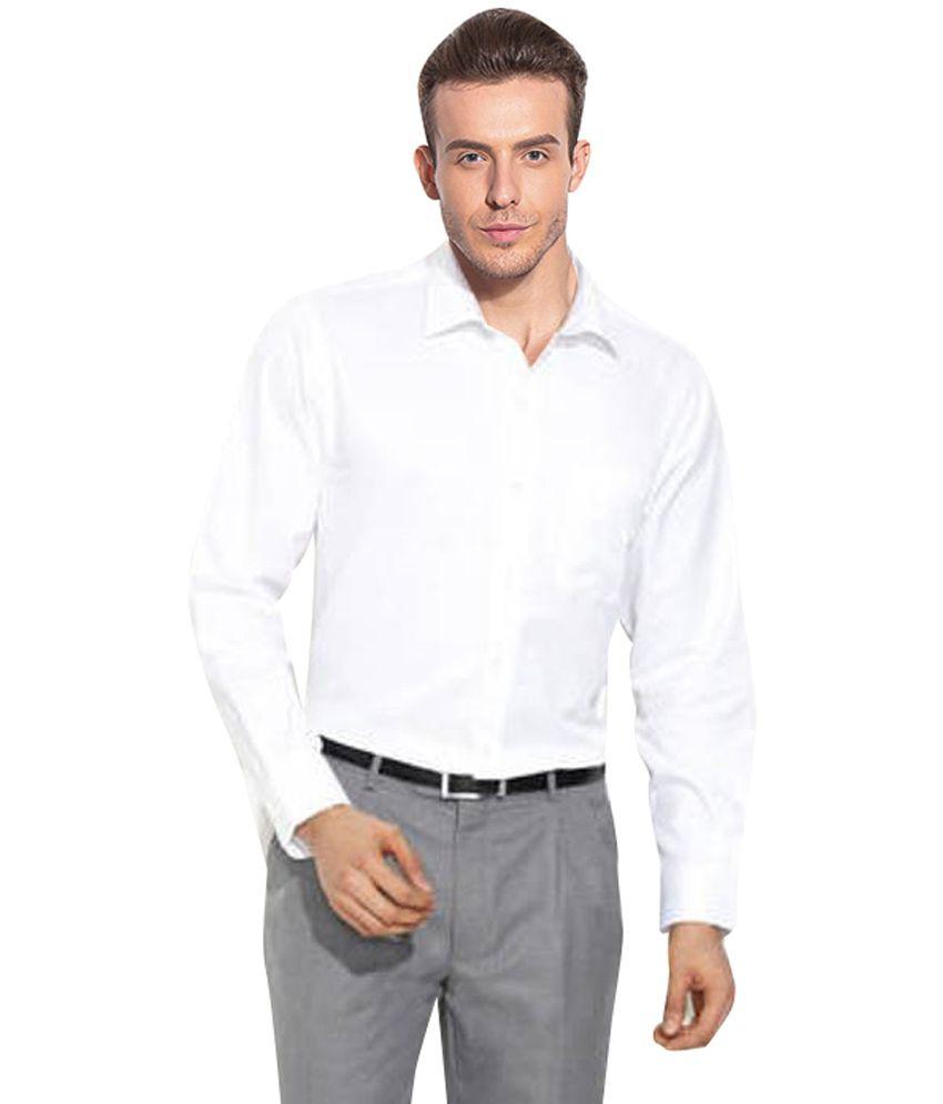 Wintoss Collections White color Cotton Blend Solids Men's Formal ...