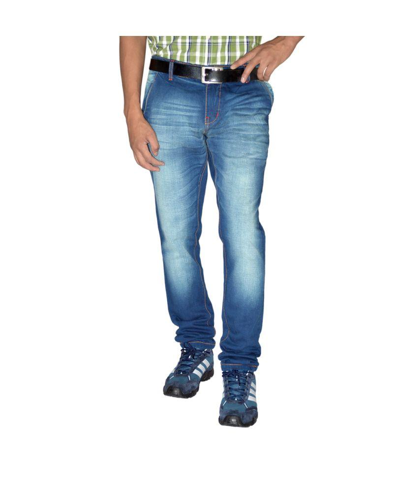 Focker Romeo Deep Blue Slim Fit Fabric Five Pocket Jeans