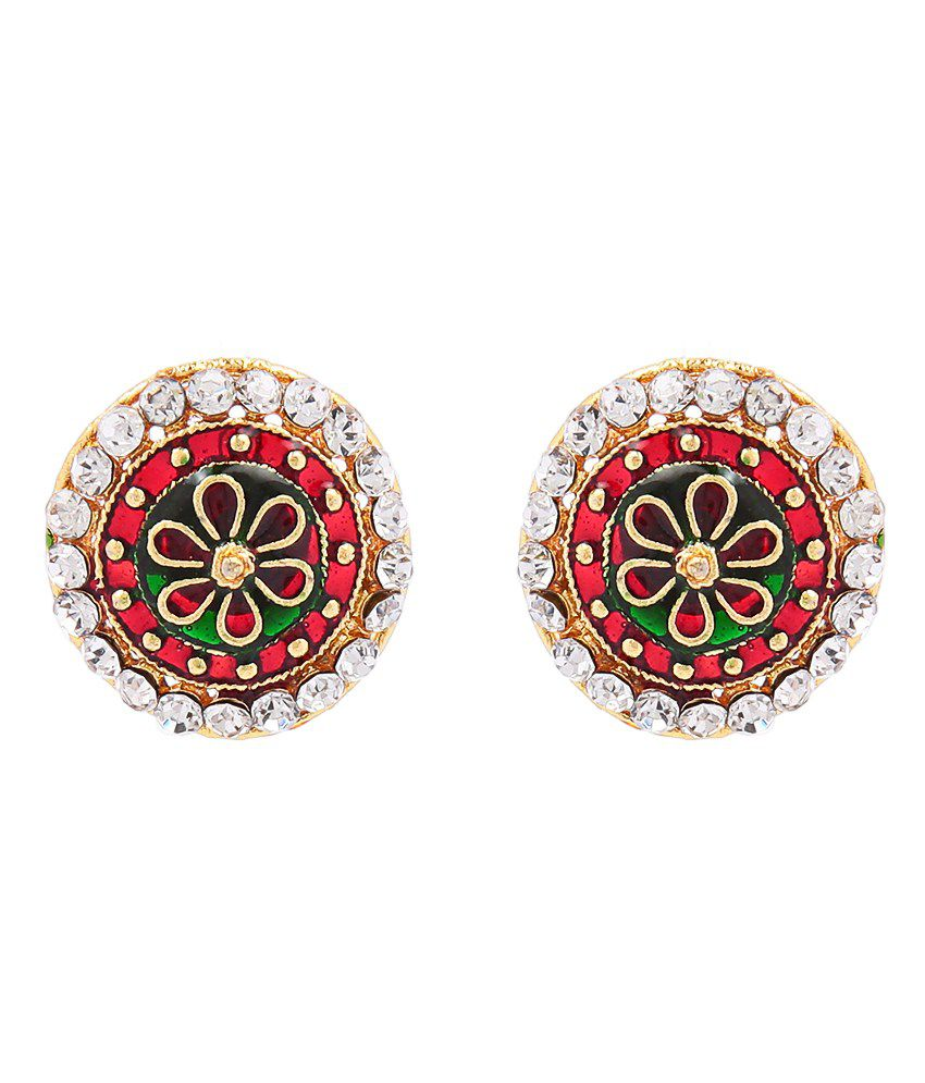 Goldnera Rangoli Designed Red And Green Studs