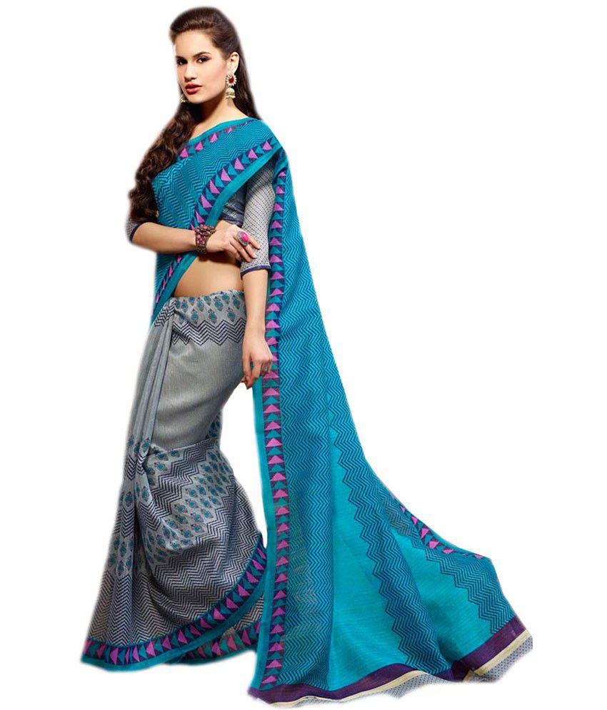 Paaneri Gray Printed Mysore Silk Saree With Blouse Piece