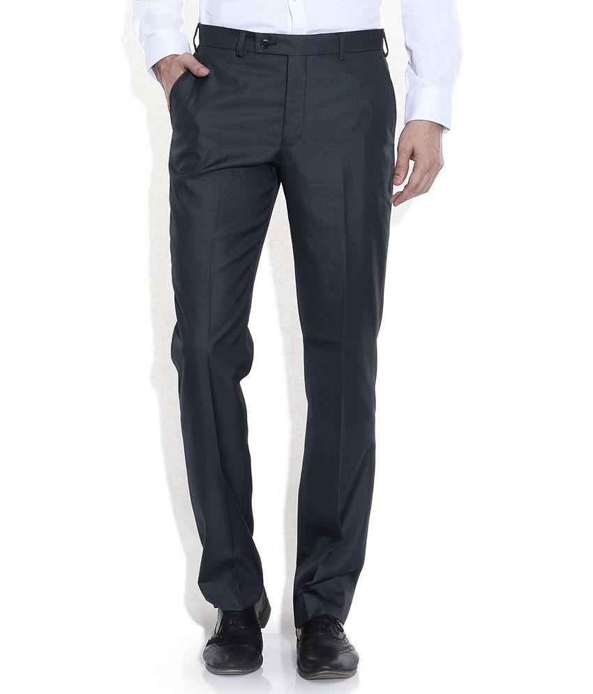 Park Avenue Gray Slim Fit Formal Trousers