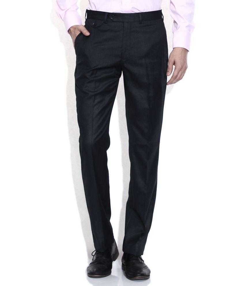 Park Avenue Navy Slim Fit Formal Trousers