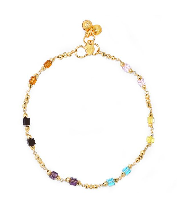 R S Jewels Gold Plated Multi Colour Anklet Jewellery New Fashion