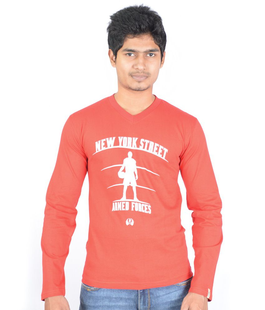 Hueman Red Cotton Printed Full Sleeve V-neck T-shirt