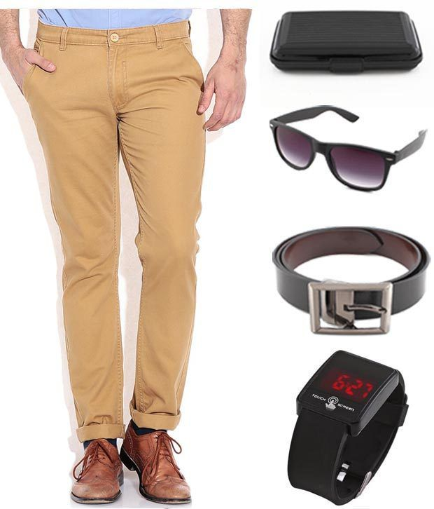 Keepsake Khaki Chinos , Watch , Belt , Wayfarer Sunglasses , Cardholder Combo