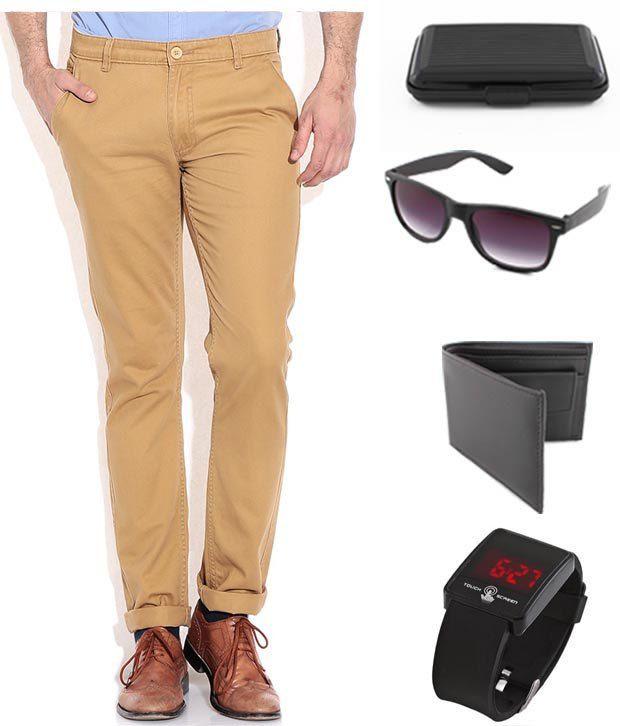 Keepsake Khaki Chinos With Wallet , Watch , Wayfarer Sunglasses , Cardholder Combo