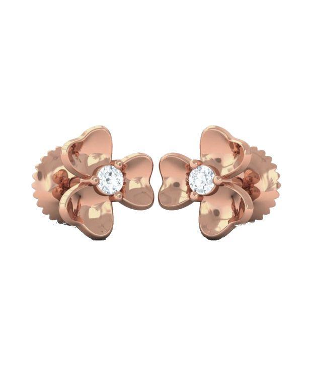 Kreeli 14k Rose Gold Iris Diamond Earrings With D-f Vvs1 Diamond Quality