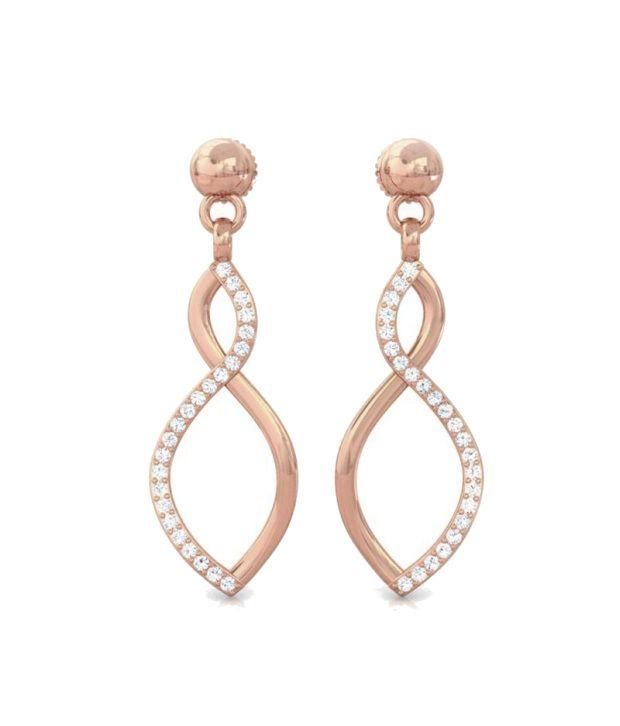 Kreeli 18k Rose Gold Halona Diamond Earrings With D-f Vvs2 Diamond Quality