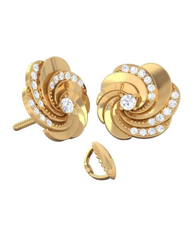 Kreeli 18k Yellow Gold Swirl Diamond Earrings With D-f Vs1 Diamond Quality