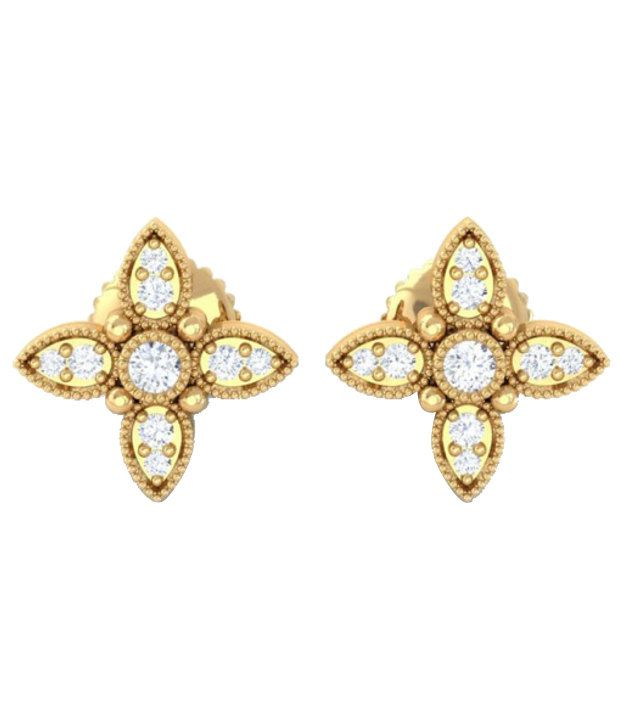Kreeli 22k Yellow Gold Arabis Diamond Earrings With D-f Vs2 Diamond Quality