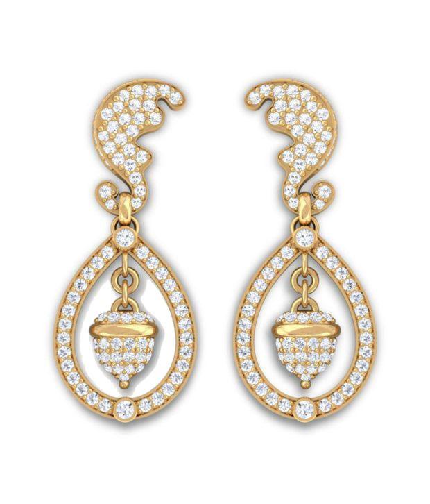 Kreeli 22k Yellow Gold Kate Diamond Earrings With D-f Vs2 Diamond Quality