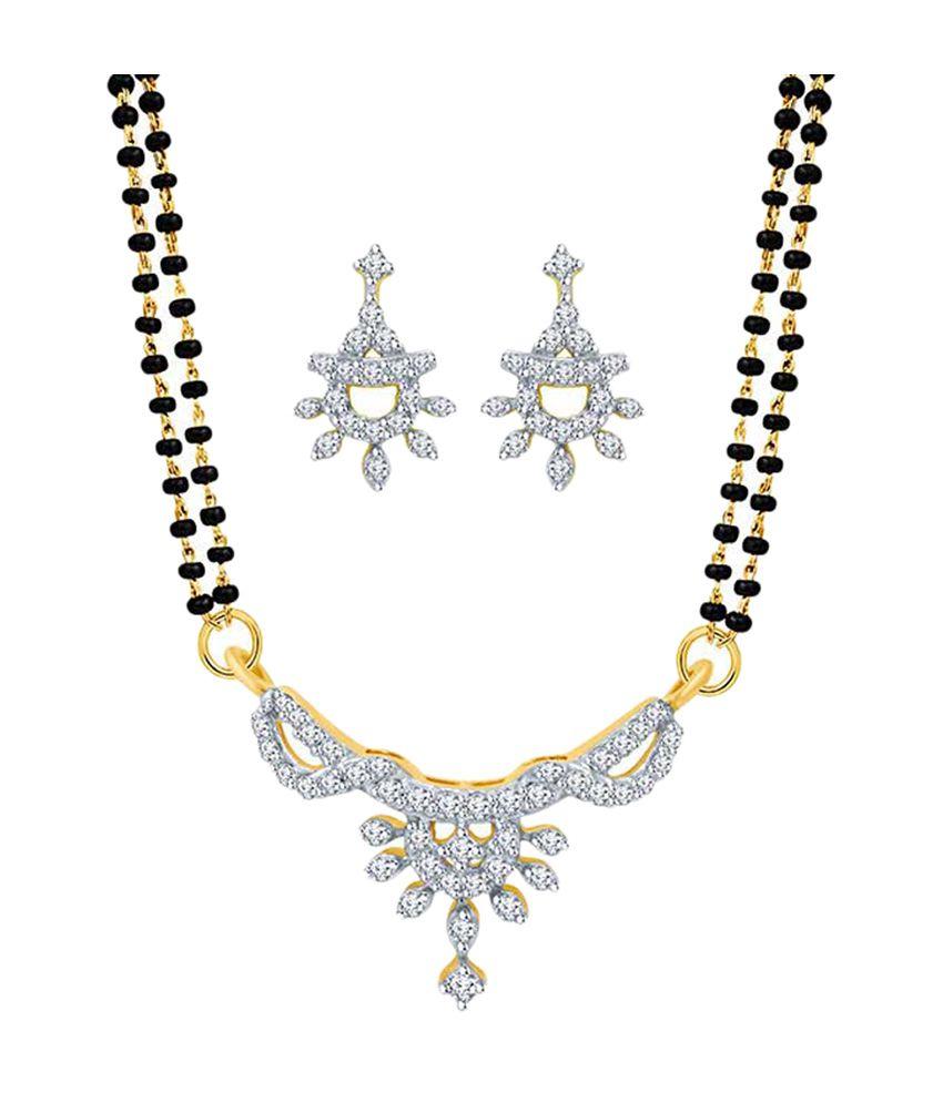 Eldora Lovely Silver & Black Alloy Tanmaniya Mangalsutra Set