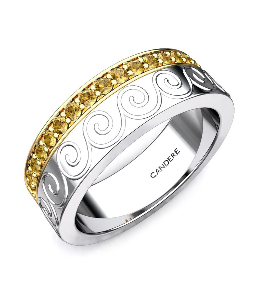 Candere Aashini Citrine Band White Gold Ring