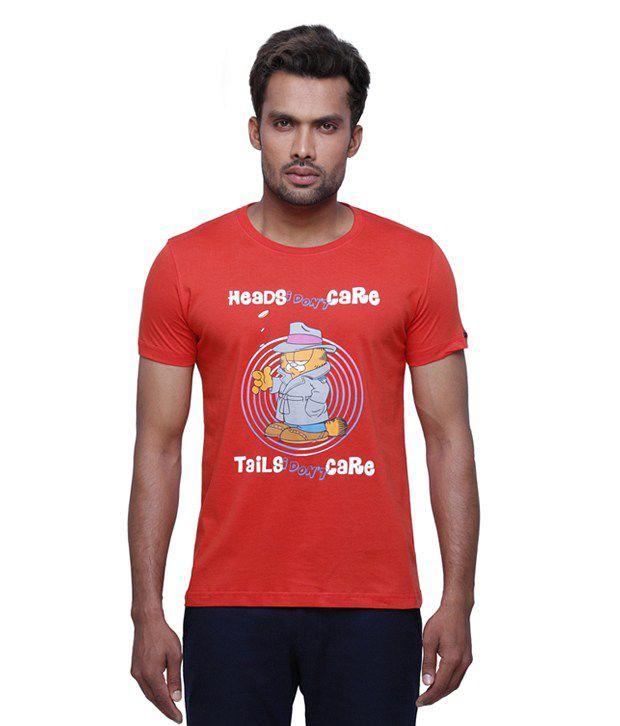 Garfield Orange Cotton Round Neck Printed T-shirt