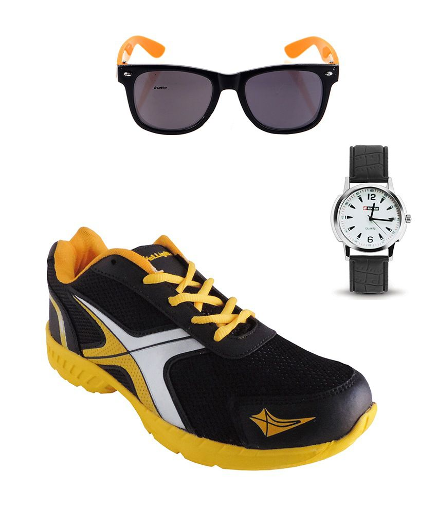 Elligator Black & Yellow Sport Shoes With Lotto Watch And Lotto Wayfarer Combo