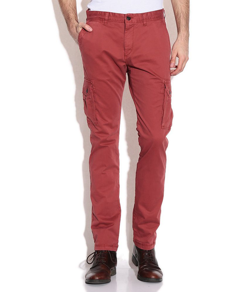 Fcuk Red Slim Casuals Trousers & Chinos