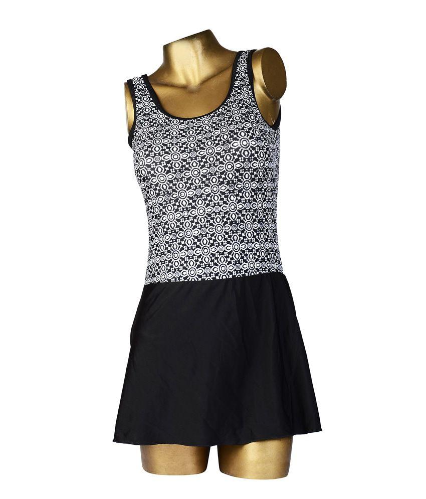 Indraprastha Print Black & White Skirted Style Swimsuit/ Swimming Costume