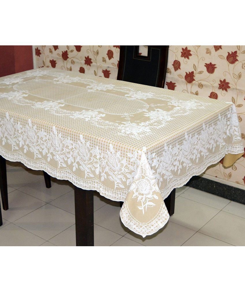 Katwa Clasic - 54 x 78 Inches (Rectangle) Rose Lace Vinyl Tablecloth (Beige)