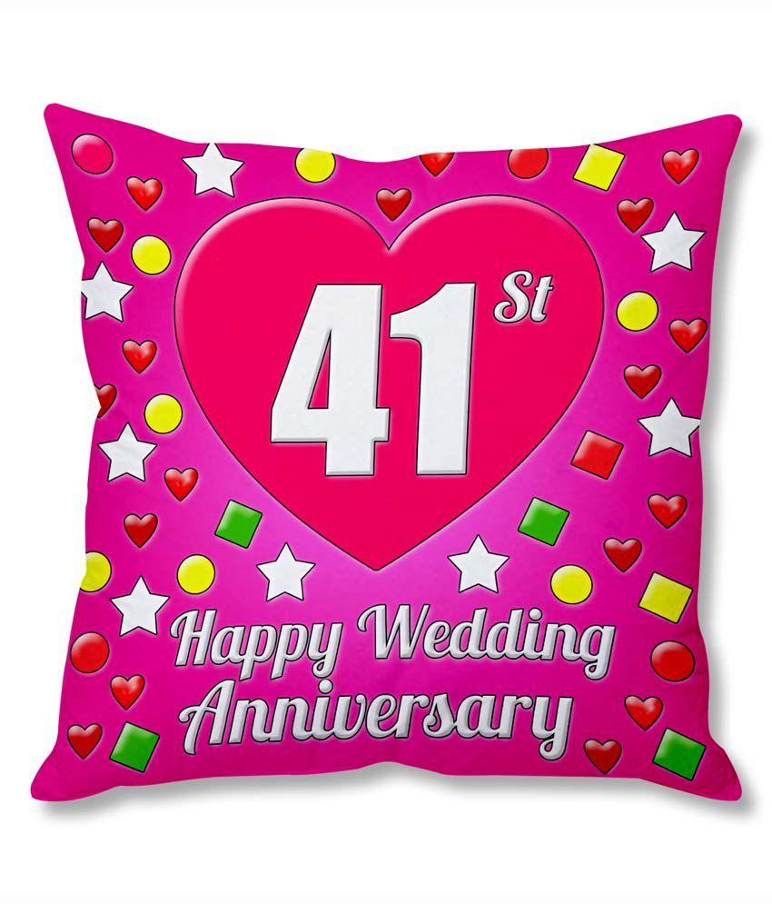 Photogiftsindia 41st Wedding Anniversary Cushion Cover