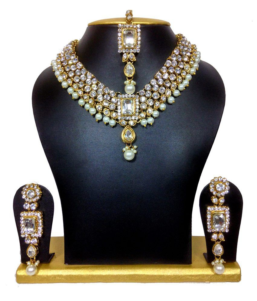 Sewad Multicolour Alloy Necklace Set With Maang Tikka