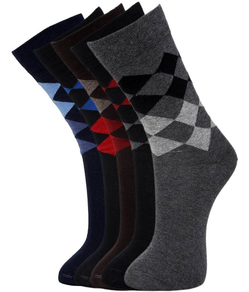 Vinenzia Men's Computer Cotton Spandex Socks - 5 Pair Pack