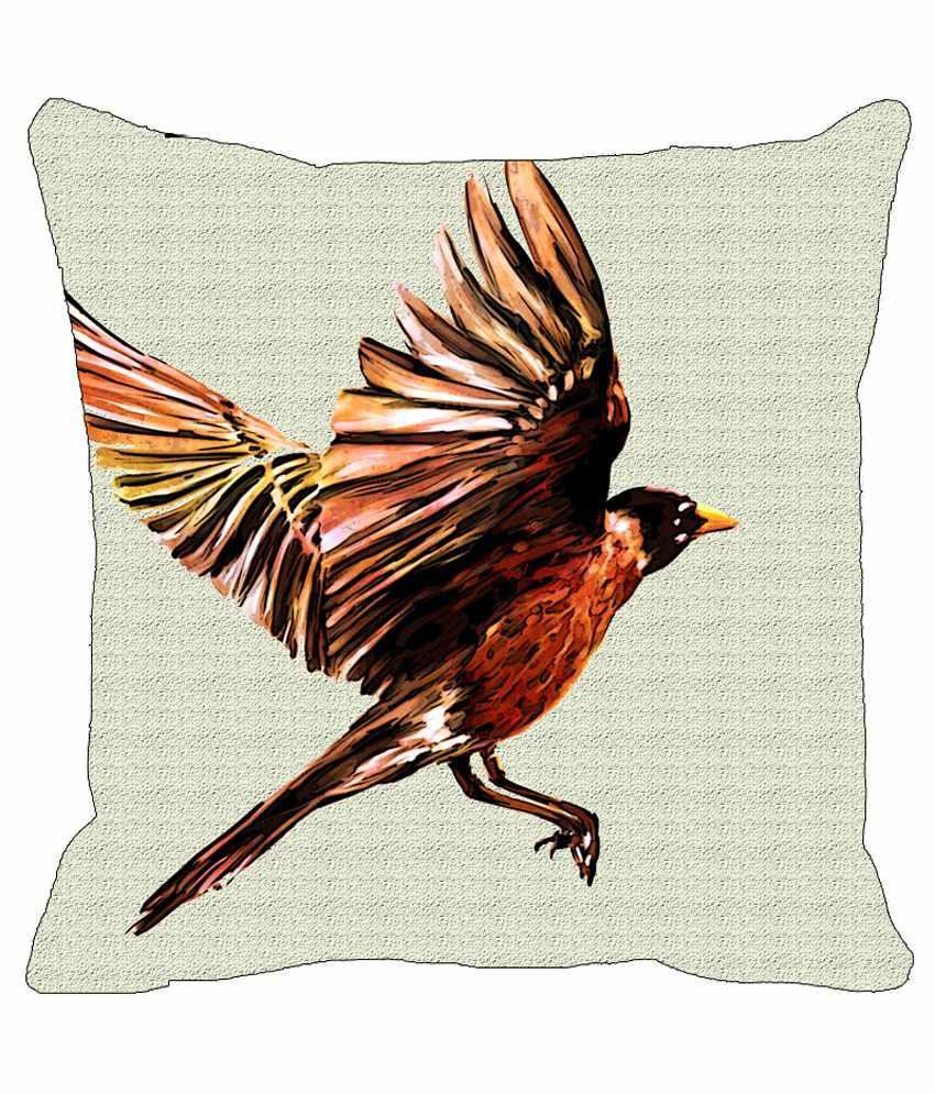 Leaf Designe Multicolour Bird Cushion Cover